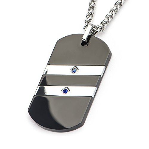 Tribal Hollywood 2 Stripe Black And Natural Steel Blue Sapphires Mens Dog Tag Necklace by Tribal Hollywood