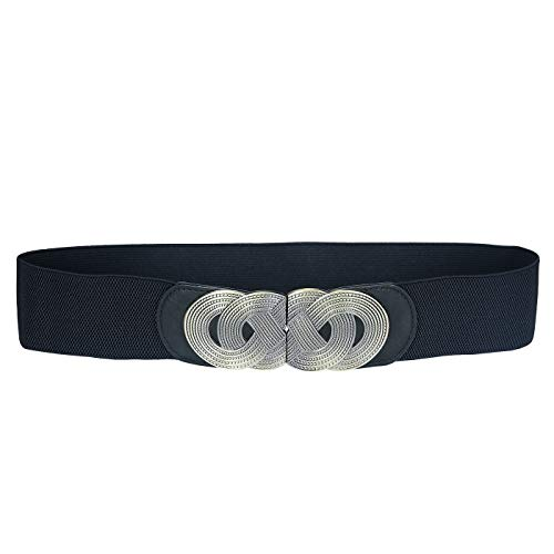 HDE Women's Elastic Cinch Belt with Infinity Style Buckle and Stretch Waist Band (Black, L-XXL)