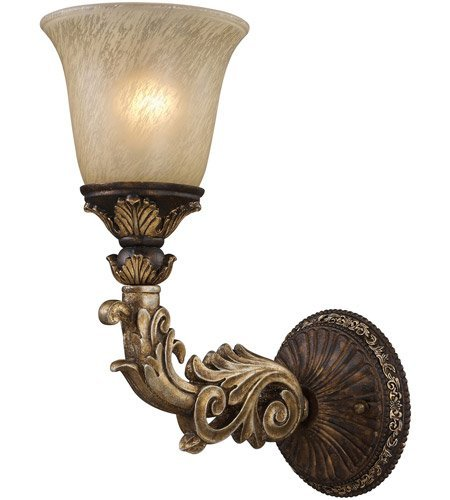 Wall Sconces 1 Light With Burnt Bronze And Gold Leaf Finish Medium Base 6 inch 60 Watts - World of Lamp (Gold Burnt Sconce Leaf)
