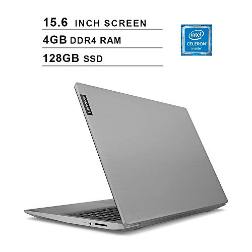 Lenovo 15.6″ High Performance Laptop, Intel Celeron 42050U Dual-Core Processor, 4GB DDR4 RAM, 128GB SSD, Webcam, Wireless+Bluetooth, HDMI, Window 10 (Intel Processor) (Platinum Gray)