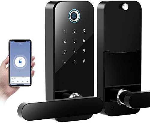 COOLOUS Fingerprint Lock with Bluetooth Tuya Smart App,Stainless Steel Door Lock Touchscreen Keypad Keyless Smart Lock Electronic Entry Lock with Reversible Lever Locking for Office Home Door