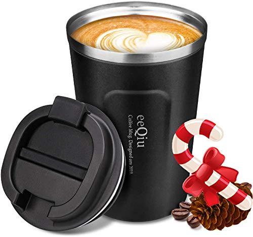 eeQiu Taza de cafe para Llevar 13oz 100% a Prueba de Fugas - Taza de Viaje de Acero Inoxidable - Taza de automovil de Doble Pared Tapa de Aislamiento Taza de cafe Reutilizable ecologica (Negro)