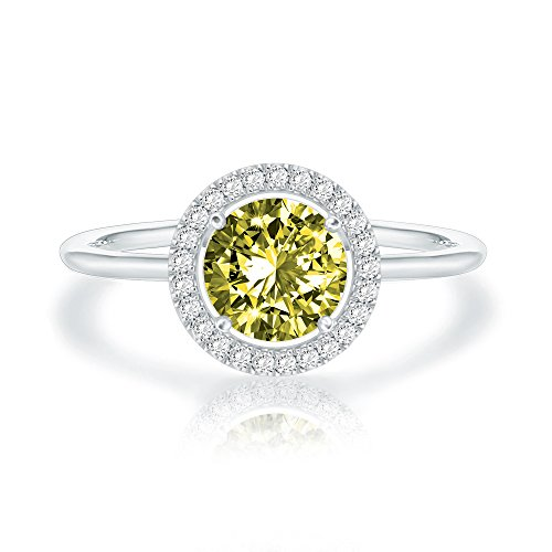 (Swarovski Crystal 14K White Gold Plated Birthstone Rings | White Gold Rings for Women | Peridot Ring)