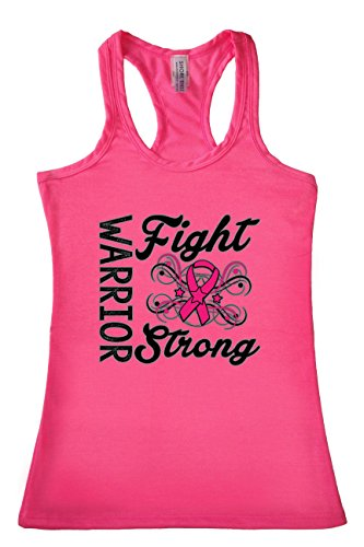 Women's Warriors Fight Strong Breast Cancer Awareness Racerback TANK TOP: PINK -