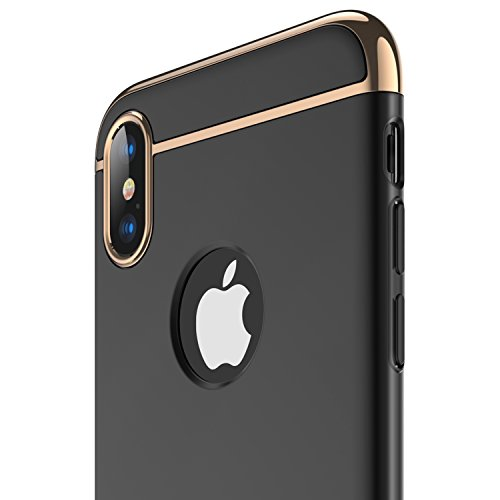 (RANVOO iPhone X Case, iPhone 10 case, Thin and Slim Hard 3 in 1 Stylish Cover Matte Surface with Electroplate Frame Case (Black))