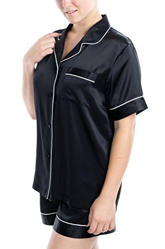 (OSCAR ROSSA Women's Luxury Silk Sleepwear 100% Silk Short Sleeve Top Boxer Short Pajamas Set)