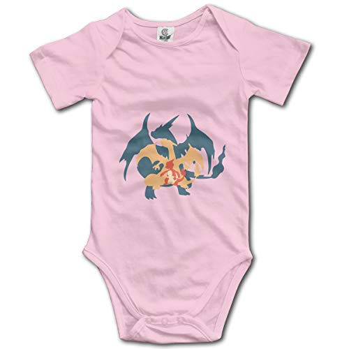 GET ON My Level Charmander Baby Bodysuit Short Sleeve Onesies for Boys and Girls Pink -
