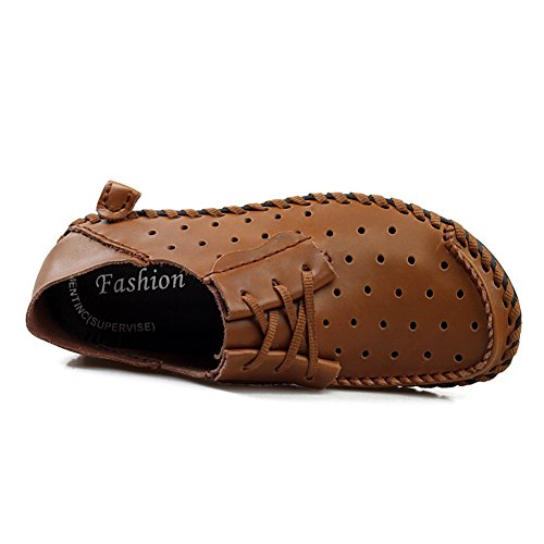 Go Tour Men s Casual Soft Handmade Suture Leather Lace Up Outdoor Loafer Shoes Brown Punched 39 vWZe0s7ERD