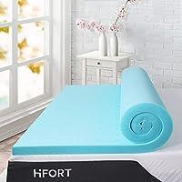 HIFORT Memory Foam Topper Twin 2 Inch, Ventilated Gel Mattress Pad Single Bed Topper