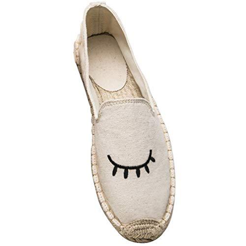 Beiges Tissu Yeux De Slip Confortables Toile Plaines Les Chaussures Femmes Causale Broder Sur z7fZxw