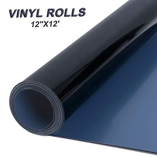 PU Heat Transfer Vinyl 12in x 12ft Roll-Iron on HTV for T-Shirts Easy to Cut & Weed Bonus Teflon &1 Weeding Tweezer (Black)