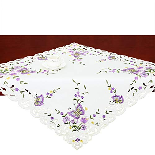 Simhomsen Small Spring Butterfly and Floral Tablecloths Toppers, Tablecovers for End Table, Tea Table, Coffee Table and Nightstand, Purple Square 34 Inch -