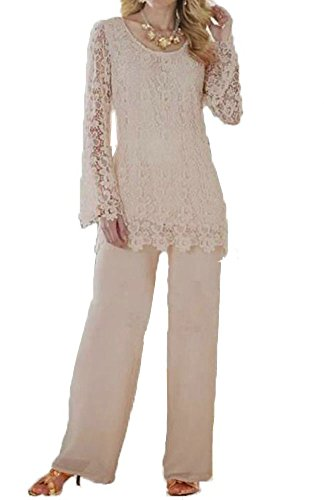 Womens Pant Size Suits Plus (Dislax Two Piece Lace Mother of Bride Pants Suit Champagne US 16)