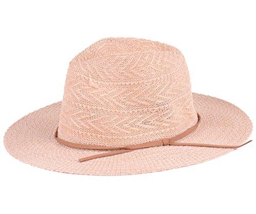 BYOS Fashion Boho Summer Straw Panama Fedora Sun Hat Wide Brim, Various Styles (Woven Chevron W/Skinny Suede Band-Light Beige)
