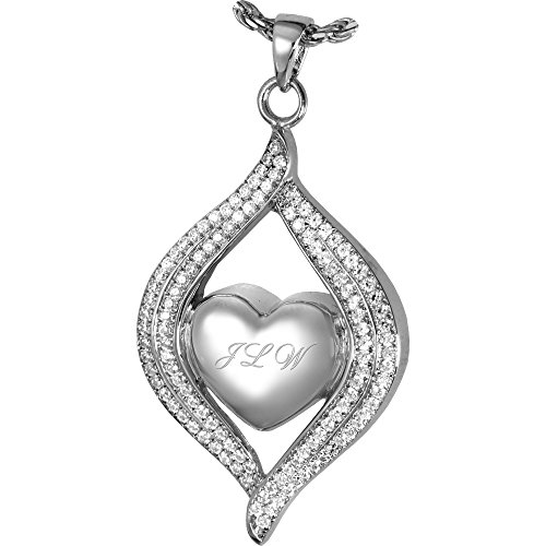 Cremation Memorial Jewelry: 14K Solid White Gold Teardrop Ribbon Heart + Text Engraving