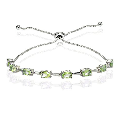 Sterling Silver Genuine Peridot Oval Adjustable Bolo Bracelet