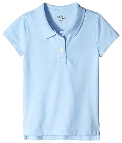 Scout + Ro Girls' Short Sleeve Pique Uniform Polo Shirt, Light Blue, 5 (Air Blue Knit Shorts)
