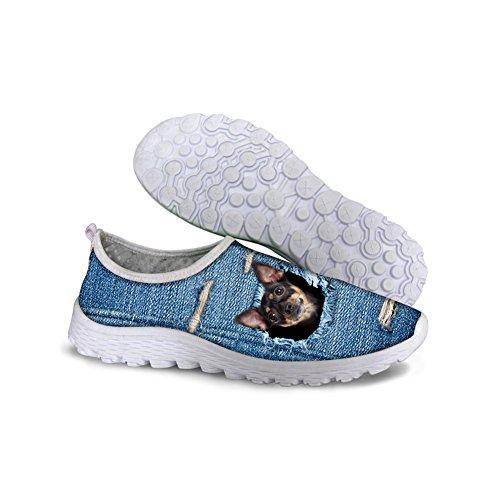 Per Te Disegni Unisex Elegante Carino Gatto Cane Gufo Modello Animale Maglia Comoda Slip On Scarpe Da Corsa Cane Blu 2