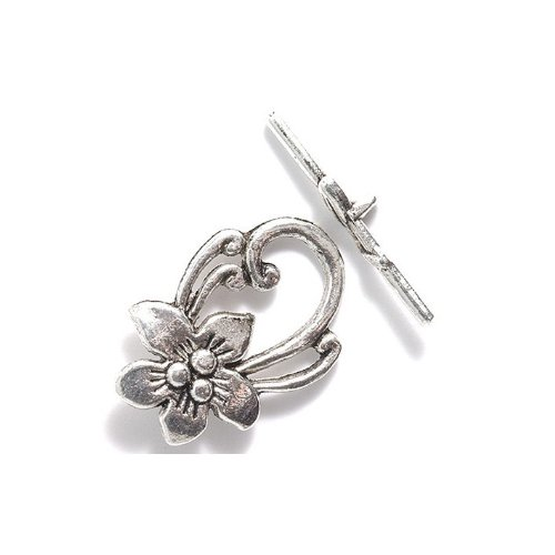 Metal Flowers Necklace Clasp (Shipwreck Beads Zinc Alloy Toggle Clasp Flower with Scrolls, 20 by 30mm, Silver, 18-Pack)