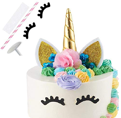 Unicorn Cake Topper, Reusable Unicorn Horn with Ears, Eyelashes and Flowers, Party Cake Decoration for Birthday Party -