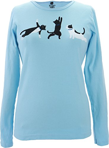 Green 3 Kitty Cat Yoga Poses Long Sleeve Tee (Light Blue) - 100% Organic Cotton Womens T Shirt, Made in The USA