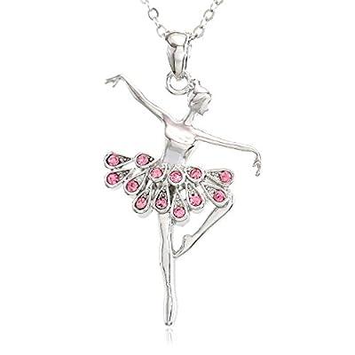 SoulBreezeCollection Pink Dancing Ballerina Dancer Ballet Dance Pendant Necklace Charm
