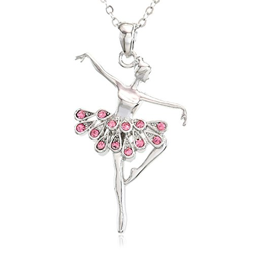 SoulBreezeCollection Light Pink Dancing Ballerina Dancer Ballet Dance Pendant Necklace Charm (Pink)