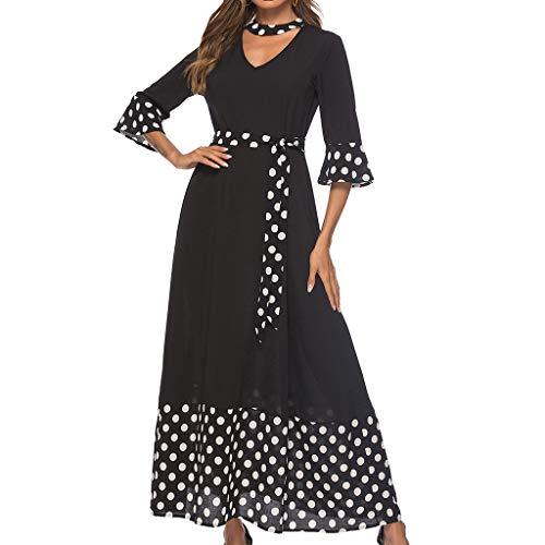 Women's Casual Polka Dot Print Patchwork Half Sleeve V-Neck Tie Waist Loose Fit Long Dress (XXL, Black)