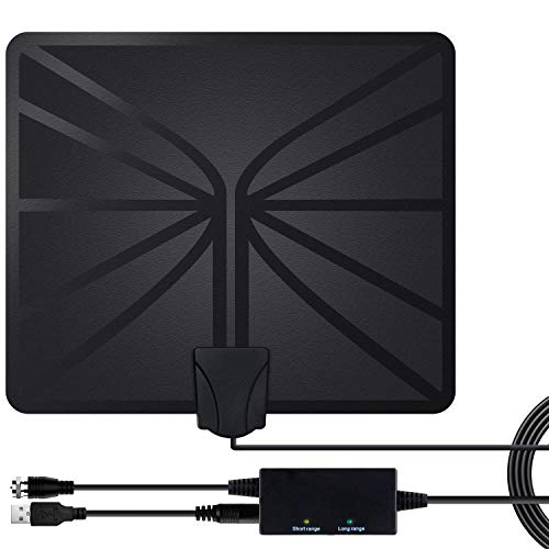 TV Antenna for Digital TV Indoor, 80 Miles Range High Reception HD Antenna with Amplifier Signal Booster, Support 4K 1080P VHF UHF Freeview HDTV Local Channels, 16.5 Ft Longer Coaxial Cable by IKALULA