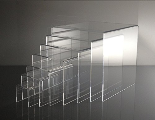 - T'z Tagz Brand Clear Acrylic Nesting Table Riser Set of 7-2in-8in