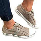 Cenglings Women's Sneakers, Women Round Toe Canvas Flat Shoes Slip On Shoes Casual Sport Shoes Walkings Shoes Office Loafers Beige