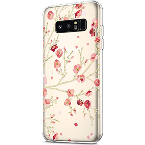 - ikasus Case for Galaxy Note 8,Clear Art Panited Pattern Design Soft & Flexible TPU Ultra-Thin Transparent Flexible Soft Rubber Gel TPU Protective Case Cover for Galaxy Note 8 Case,Pink Plum blossom