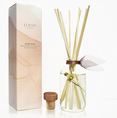 LOVSPA Cashmere Woods Reed Diffuser | Precious Woods & Sensual Amber are Blended with Soft Mimosa, Vanilla Musk, Apricot Nectar and Juicy Berry by LOVSPA (Image #4)