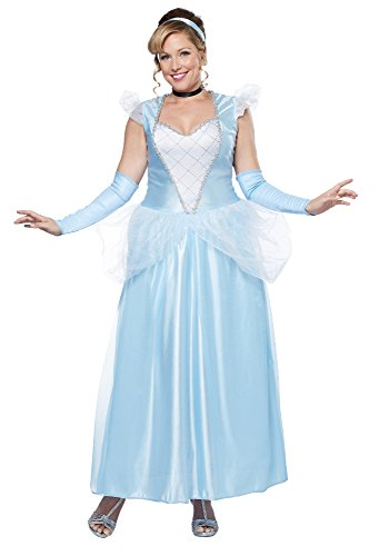 California Costumes Women's Plus-Size Classic Cinderella Fairytale Princess Long Dress Gown Plus, Blue/White, -