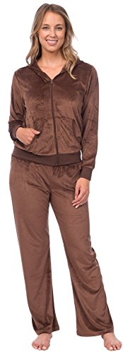 Pink Lady Womens Soft Velour Zip Hoodie and Bottoms Lounge Tracksuit (Cocoa Brown, - Set Lounge Brown