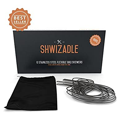 Shwizadle BBQ Skewers, Long Bendable Design Holds Twice The Food, Portable Travel Bag, Easy To Clean, Lifetime Warranty, 23 Inches (6 Pack)