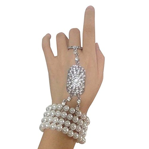 Price comparison product image Song 1920s Great Gatsby Crystal Pearl Inspired Flower Hand Chain Slave Bracelet Ring Jewelry