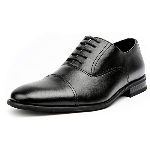 Ferro Aldo Charles MFA19569L Mens Classic Captoe Lace Up Oxford Casual Dress Shoes - Black, Size 10.5