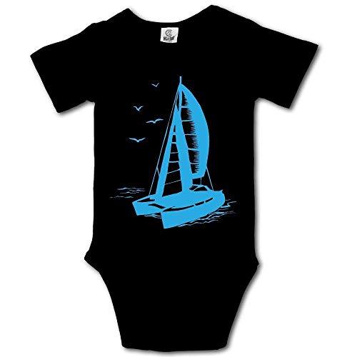 - Catamaran Sailboat Monochrome Silhouette Baby Newborn Infant Creeper Short-Sleeve Romper Bodysuit Onesies Jumpsuit