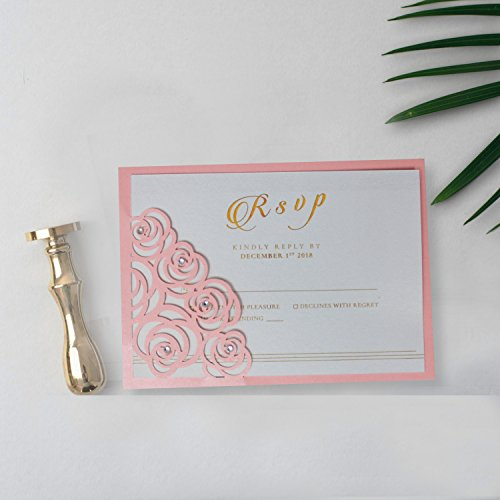 Picky Bride Rose Pink RSVP Cards Wedding Invitation Accessories Response Card Luxury Invitation Reply Cards 105 x 150mm - Set of 50 pcs (Pink - RSVP Cards)