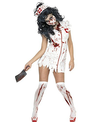 Smiffy's Women's Zombie Nurse Costume, Dress, Mask and Headpiece, National Horror Service, Halloween, Size 10-12, 34132 (Usa National Costume For Men)