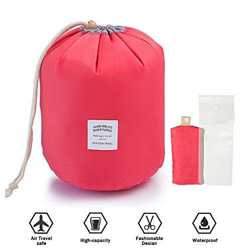 Travel Makeup Bag Women Waterproof Cosmetic bags Travel Kit Organizer Case foldable bucket Toiletry Bag,red