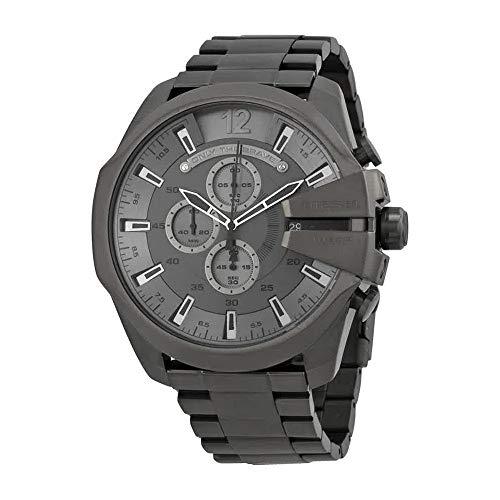 Diesel Men's Mega Chief Quartz Stainless Steel Chronograph Watch, Color: Grey (Model: ()