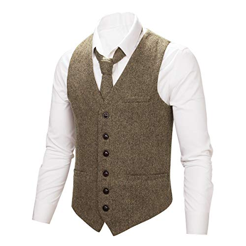 BOTVELA Mens 100% Wool Suit Vest Full Back Herringbone Tweed Wool Blend Waistcoat (Khaki, S)