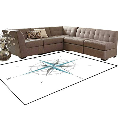 (Compass Bath Mats for Floors Antique Wind Rose Diagram for Cardinal Directions Axis of Earth Illustration Floor Mat Pattern 5'x7' Blue Grey White)