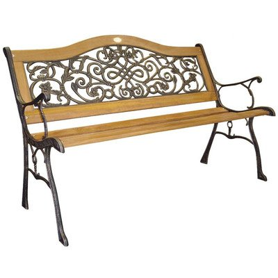 DC America SL5650COBR-MP Sienna Camelback Park Bench, Cast Iron Frame and HardwoodSlats, Rust Resistant Bronze Finish