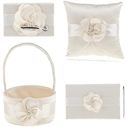 MonkeyJack 4Pcs Sash Wedding Ceremony Sets Guest Book Pen Holder Flower Basket Ring Pillow Champagne
