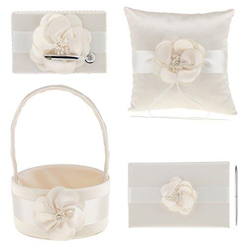 Guest Book Champagne - MonkeyJack 4Pcs Sash Wedding Ceremony Sets Guest Book Pen Holder Flower Basket Ring Pillow Champagne