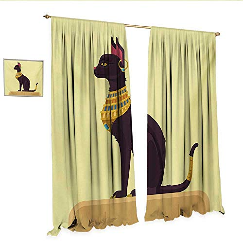 WinfreyDecor Egypt Decor Curtains by Antique Ancient Times Mystical Cartoon Style Cat with Earring Image Patterned Drape for Glass Door W108 x L84 Pale Yellow Mustard Plum.jpg