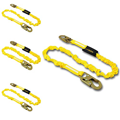 KwikSafety (Charlotte, NC) RATTLER 4 PACK (Internal Shock Absorber) Single Leg 6ft Safety Lanyard, Tool Lanyard OSHA ANSI Fall Protection Equipment Snap Hooks Construction Arborist Roofing (The Danger Of A Single Story Activity)